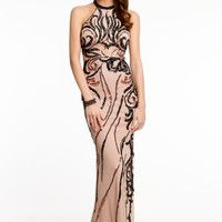 Beaded Halter Dress with Sequins