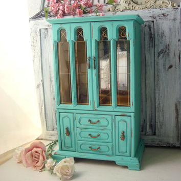 Tall Aqua Jewelry Box, Large Vintage Jewelry Holder, Teal Jewelry Box, Distressed Jewelry Holder, Shabby Chic, Gift Ideas