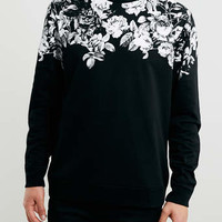 Black Floral Printed Neck Sweatshirt - Men's Hoodies & Sweats - Clothing