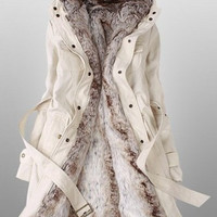 Beige Parka with Faux Fur Inner = 1930115012