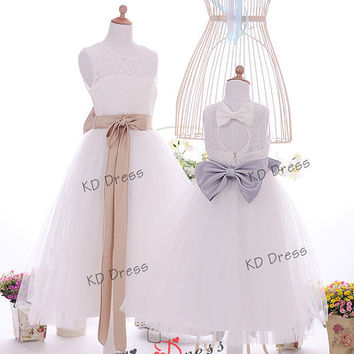 ON SALE !!! Ivory Lace Keyhole Tulle Flower Girl Dress Children Birthday Party Dress Kids Dress with Champagne/Grey Sash(Z1042 )