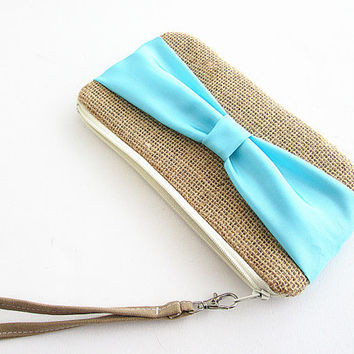Bow Burlap Clutch- burlap clutch -bridal clutch- bridesmaid clutch- Girly Blue Bow Clutch.