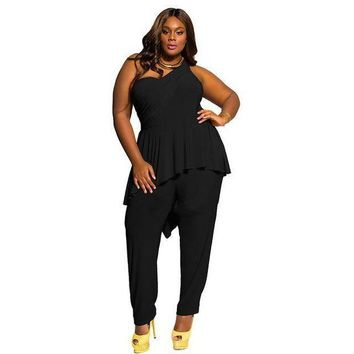 VONE05F8 plus size Women jumpsuitsElegant one shoulder backless ruffle rompers club party black slim long pant bodycon outfit overalls