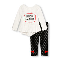 Toddler Girls Long Sleeve Embellished Graphic Hi-Low Ruffle Peplum Top and Printed Leggings Set | The Children's Place