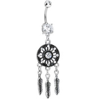 Clear Gem Mystical Black Dreamcatcher Dangle Belly Ring | Body Candy Body Jewelry