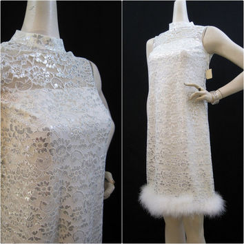 60s Dress Vintage Illusion Neckline Lace Feather Shift Cocktail Party S