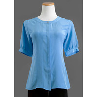 Vintage 70s Sky Blue Blouse / 1970s Pleated Secretary Blouse with Short Puff Sleeves / Small to Medium