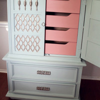 Custom Order for Daniele Tall Hollywood Regency Seafoam and Coral Dresser