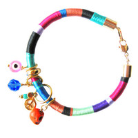 Gold Rope Bracelet - Colorful Thread Wrapped Bracelet - Silk Thread Bangle - Gypsy Bracelet - Multi Charms - Tribal Rope Bracelet