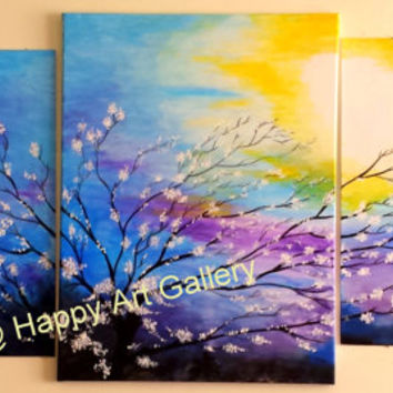 "49""X24"" Original Acrylic Painting FREE SHIPPING WhiteFlower Tree Dusk Moonlit Night Sky Landscape Canvas Wall Decor Blue Purple Yellow White"