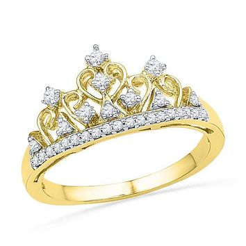 10kt Yellow Gold Women's Round Diamond Tiara Crown Band Ring 1/5 Cttw - FREE Shipping (US/CAN)