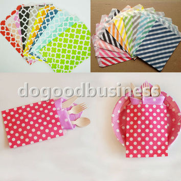 "New Kraft series Chevron/Striped/Dots Favor Bags, Bitty bag, Party Food Paper Bag 5""x7"" (13x18cm)"