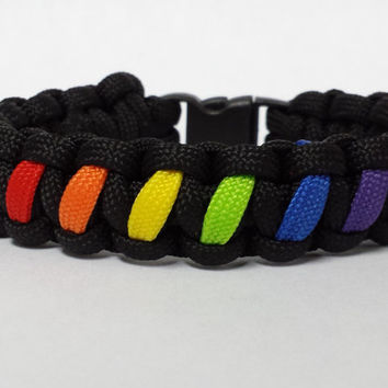 Gay Pride Bracelet, Gay Pride Paracord Bracelet, Gay Pride Survival Bracelet, Gay Pride Flag, Custom Bracelet. 26 Colors To Choose From