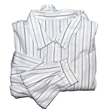 90s White Striped Shirt Womens Long Sleeve Button Up Down Androgynous Clothing Vintage 1990s Large L