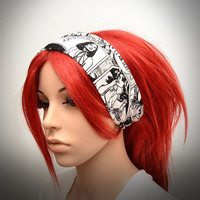 Stretchy headband with Black & White comics print