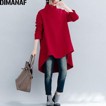 DIMANAF Plus Size Women Pullover Winter Warm Hoodies Sweatshirts Cotton Knitted Thicken Top Female Turtleneck Loose Clothes