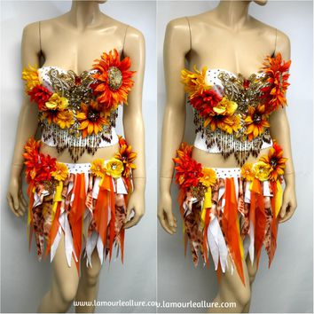 Two Piece Sun Flower Autumn Fall Fairy Bustier Corset and Skirt Costume