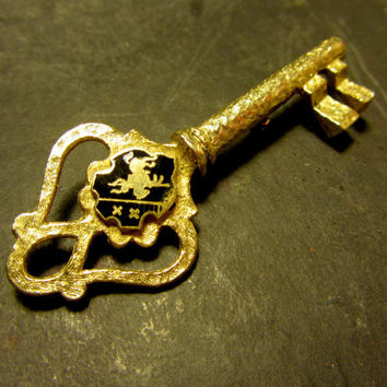 Vintage 70's Large Gold Key Brooch Pin with Jousting Knight Crest Shield KKG Sorority Greek