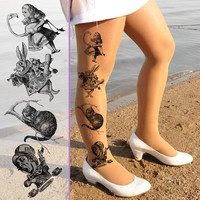 Alice in Wonderland - Size S / M - All in one tights -  Cheshire - Alice - The Hatter - White Rabbit -  Nylon Pantyhose