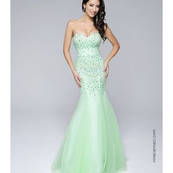 Preorder - Nina Canacci 9060 Lime Green Sweetheart Mermaid Long Dress 2016 Prom Dresses