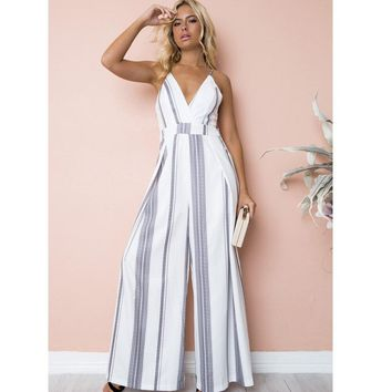 Sexy Flora Printed V-Neck Jumpsuits Women summer Backless womens jumpsuit Cotton beach Loose playsuit rompers