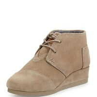 Suede Desert Wedge Boot, Taupe, Youth - TOMS