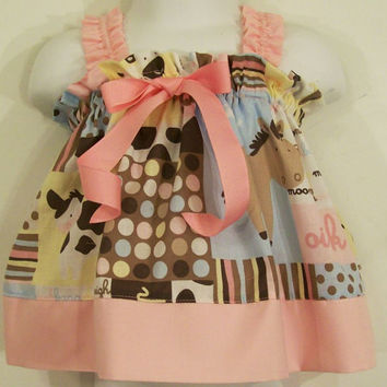 Baby Girls Dress-Rylee Swing Dress-Animals with pink-Baby Shower Gift--0/3M-READY TO SHIP-