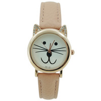 Mini CZ Cat Leather Watch 28mm - Light Pink