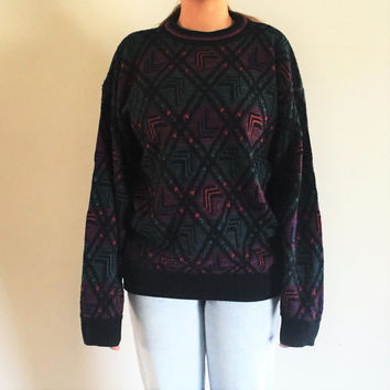 80s Mens Pullover Sweater Robert Bruce Sweater Purple Maroon Black Sea Green Geometric Design