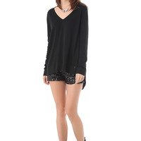 Black shorts in sequin with high rise