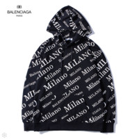 Balenciaga 2018 autumn new tide brand double B printing loose hooded pullover sweater Black