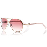 River Island Womens Gold and pink tinted aviator sunglasses