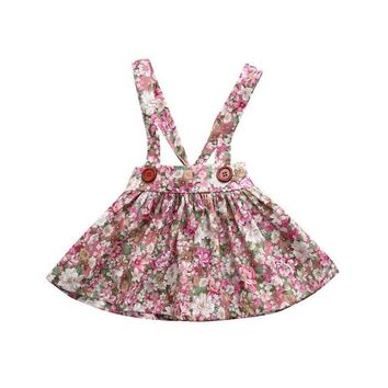 Baby Girl Clothes :  Floral Print Straps Backless Dress