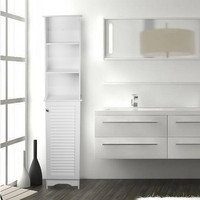 White Free Standing Bathroom Shelving with a Door