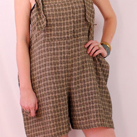 Vintage 90s - Tan & Black Plaid Button Bib Overall - Sleeveless Tank - Shorts Suit Onesuit Romper Playsuit