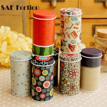 Vintage Beautiful Colorful Pastoral Iron Storage Tank Box Square Sealed Cans Coffee Tea Tin Container KT0378