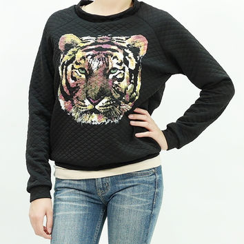 Tiger print quilted long sleeve sweater pullover