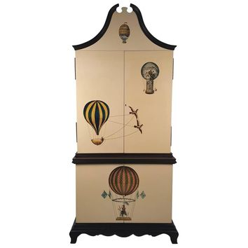 Trompe L'oeil Cabinet Embellished with 18th Century Aeronautical Motif