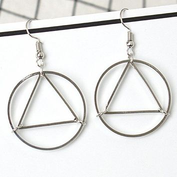ES153 Geometric Triangle Drop Earrings Fashion Jewelry boucle d'oreille Women Dangle Circle Brincos European & American Style
