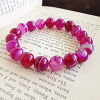 Dark Pink Striped Agate Stretch Bracelet - Power Bracelet