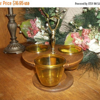 Thermo Serv Rotating Condiment Serving Set Amber Bowls Swivel Base Gold Metal Handle Vintage 1960's Entertaining Tableware by Westbend
