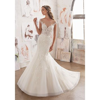 Blu by Morilee Martha 5509 Illusion Neckline Lace Fit & Flare Wedding Dress