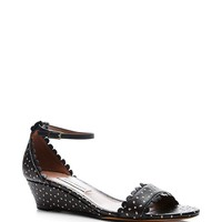 Juniper Black Perforated Leather Wedge Sandals