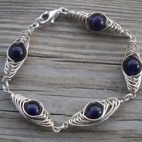 Amethyst Herringbone Silver Wire Wrapped Bracelet Amethyst Beads 9mm Alpaca Non Tarnish Silver Wire 925 Sterling Silver Closure Lobster Clasp 925 Sterling Silver Split Rings (7 Pcs) 18-19cm Long Handmade,brand New