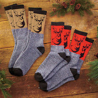 Men's 4 Pair Thermal Outdoorsman Socks Deer Buck Design Hunting Working Warm