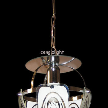 Hand Painted Silkscreen Glass Mirrored Hanging Ceiling Light Lamp Chandelier