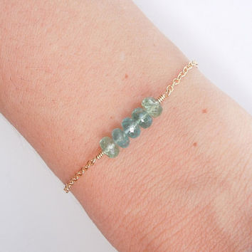 Blue Apatite Bracelet in Gold
