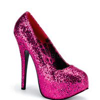 Bordello Hot Pink Glitter Pump Platforms