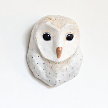 White Owl from woodland, Faux Taxidermy owl mask