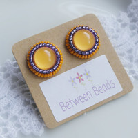 Yellow Earrings, Orange and Purple Earrings, Embroidered Earrings, Big Stud, Seed Beads, Beaded, Anniversary, Christmas Gift, Nickel Free